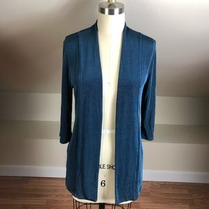 Chico's Travelers Shimmer Open Cardigan